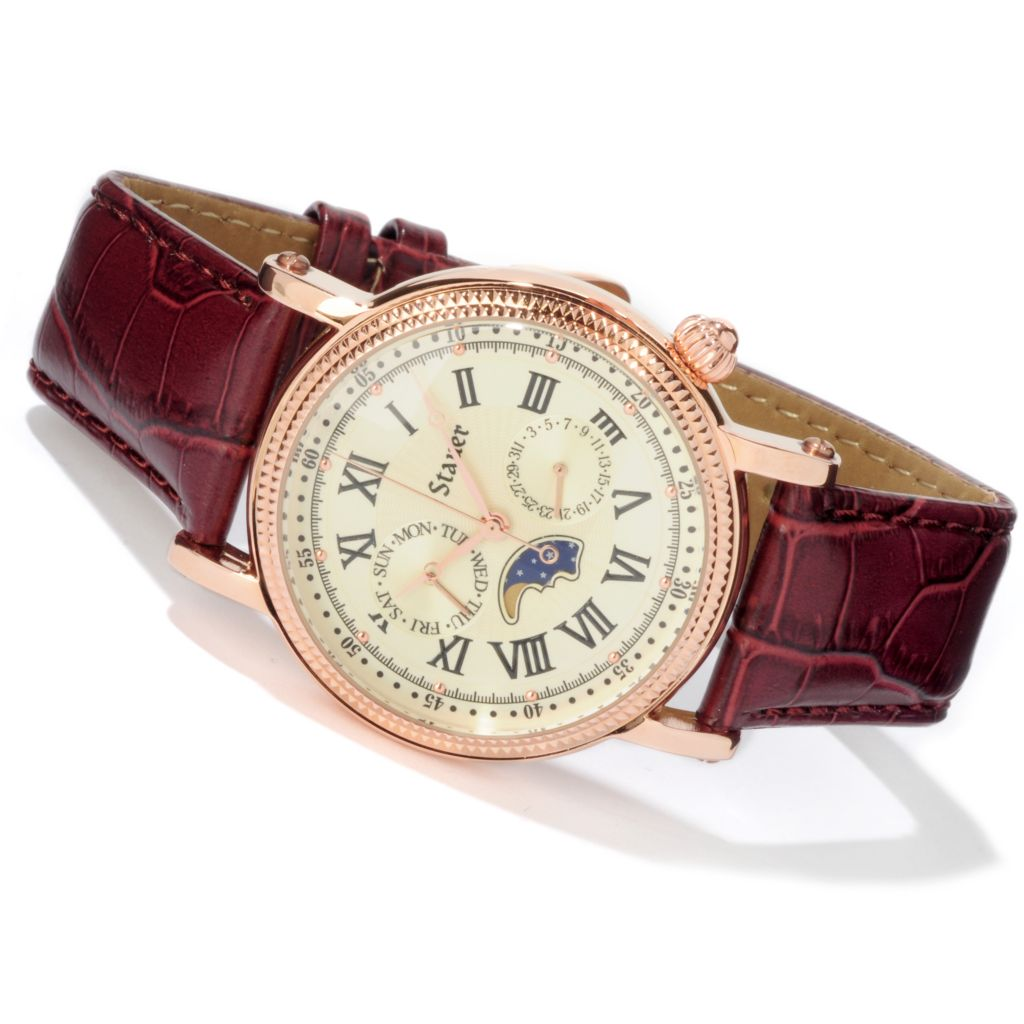 624-306 - Stauer Men's Rose-tone Moon Phase Quartz Leather Strap Watch