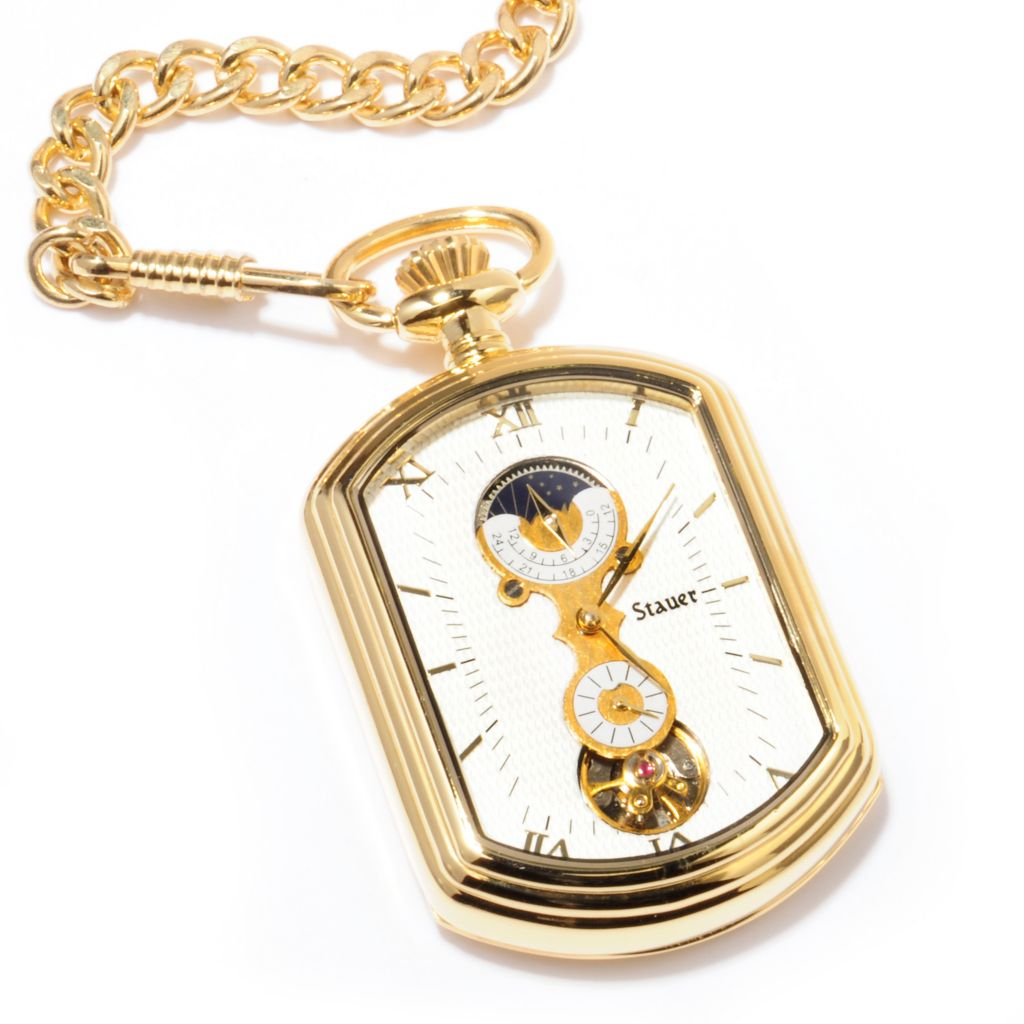 624-310 - Stauer Rectangle Grandfather Mechanical Pocket Watch