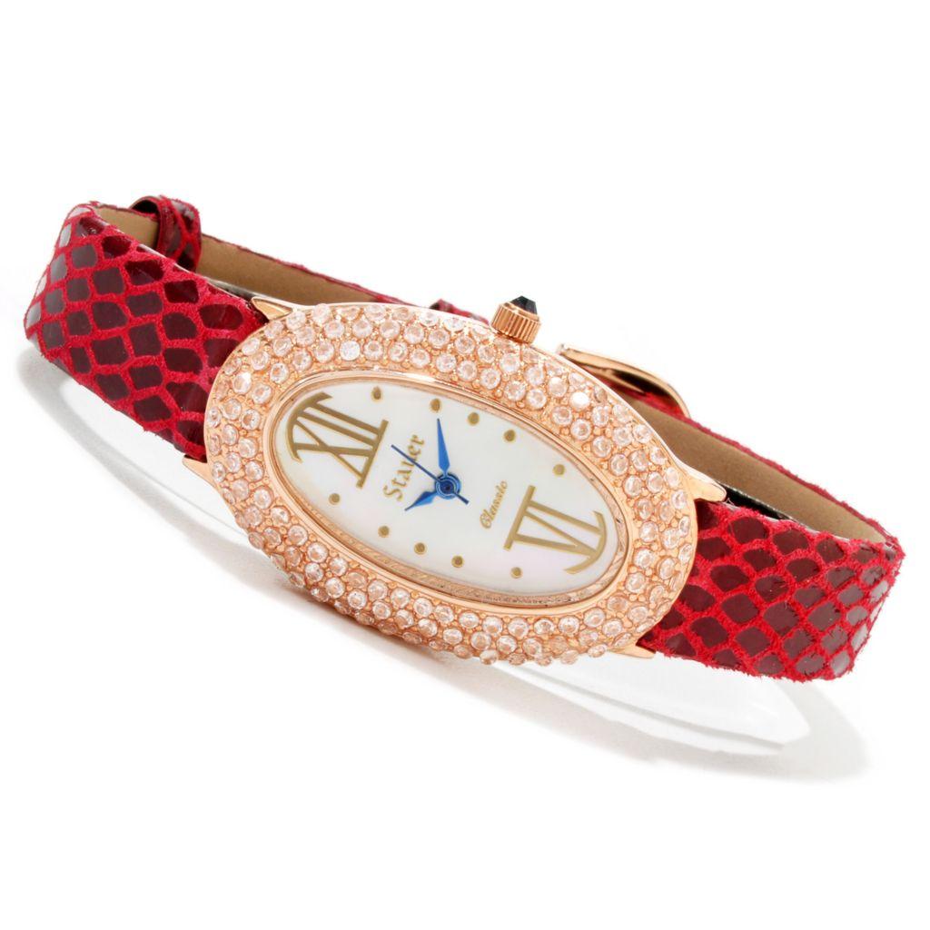 624-319 - Stauer Women's Jardin Quartz Cubic Zirconia Leather Strap Watch