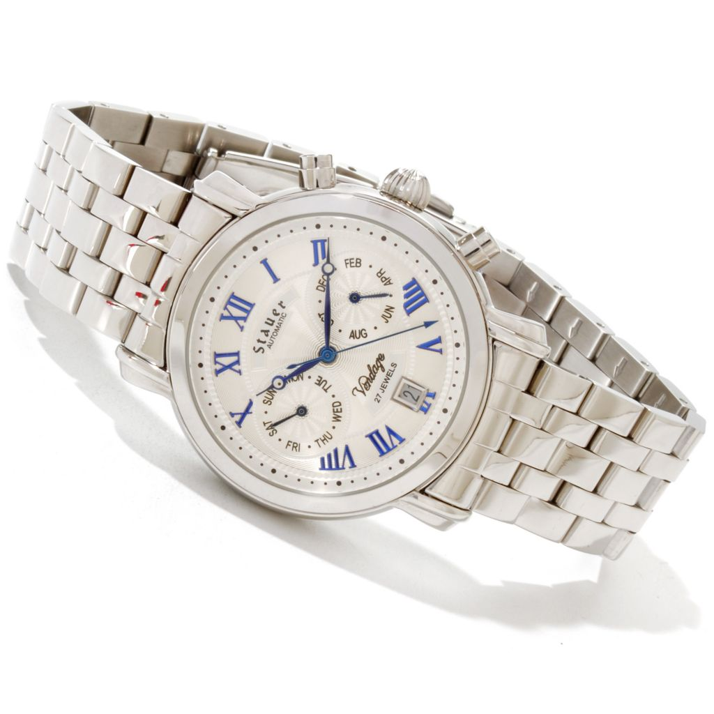 624-331 -  Stauer 40mm Vendage Automatic Stainless Steel Bracelet Watch