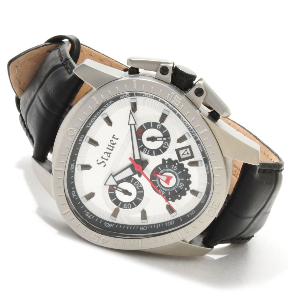 624-346 - Stauer Triangular Throttle Quartz Chronograph Stainless Steel Case Leather Strap Watch