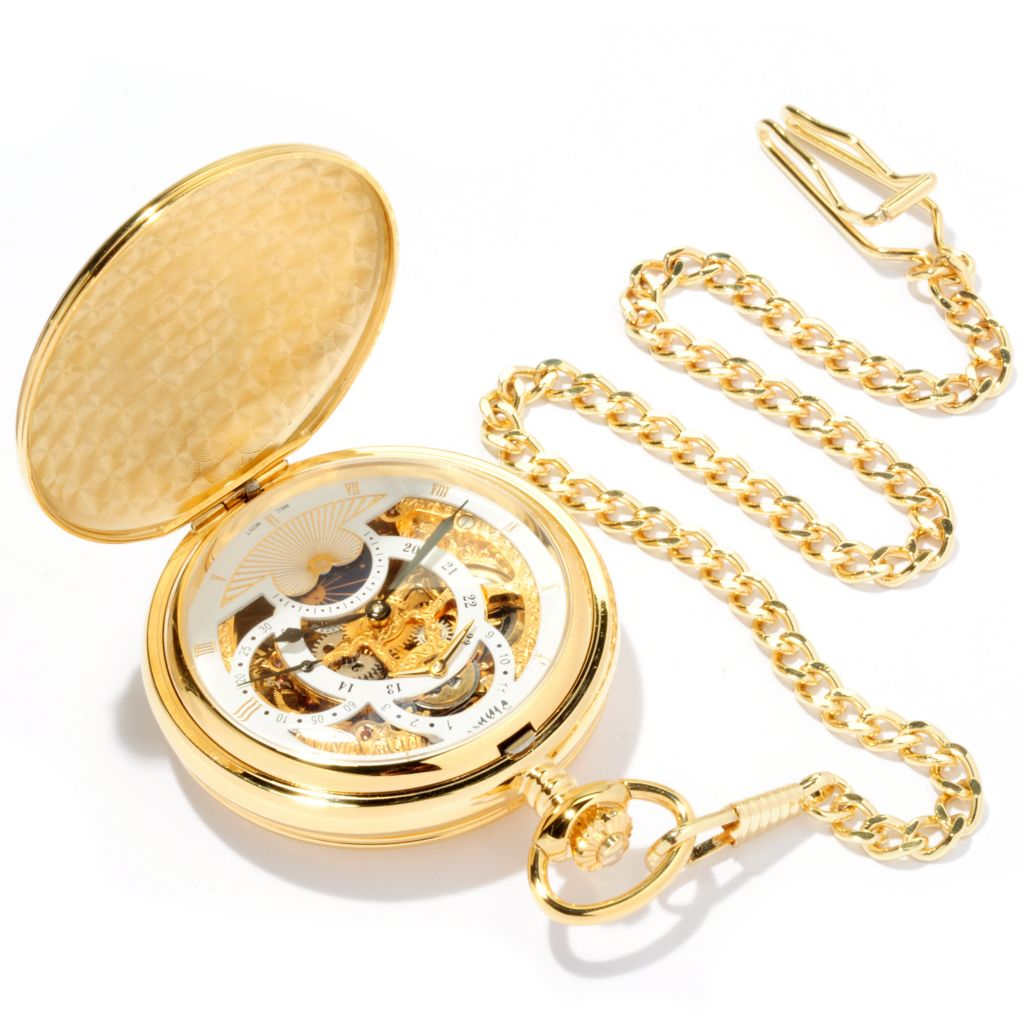 624-372 - Stauer 54mm 1760 Skeleton Mechanical Double Hunter Back Pocket Watch
