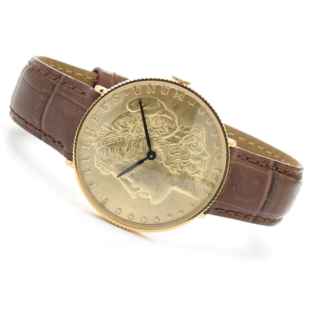 624-375 - Stauer 45mm Morgan Swiss Quartz Brown Leather Strap Watch
