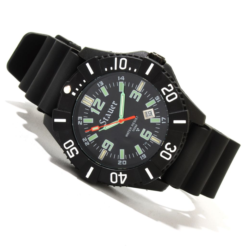 624-379 - Stauer 44mm Stealth Tritium Quartz Black Rubber Strap Watch