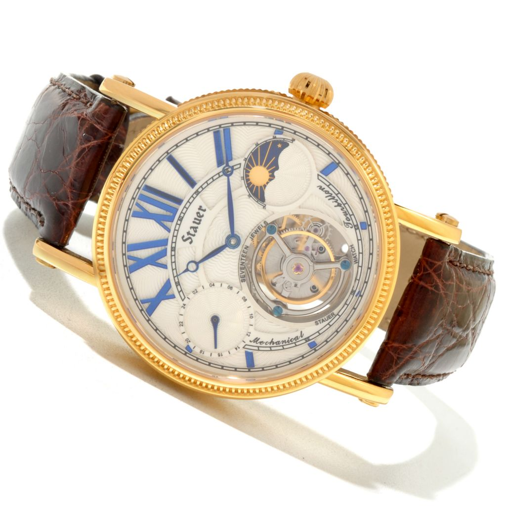 624-380 - Stauer Men's Bravura Mechanical Tourbillon Crocodile Strap Watch
