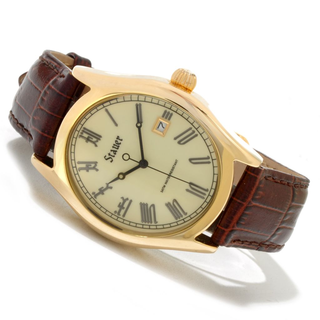 624-381 - Stauer 38mm Briton Quartz Tonneau Case Brown Leather Strap Watch