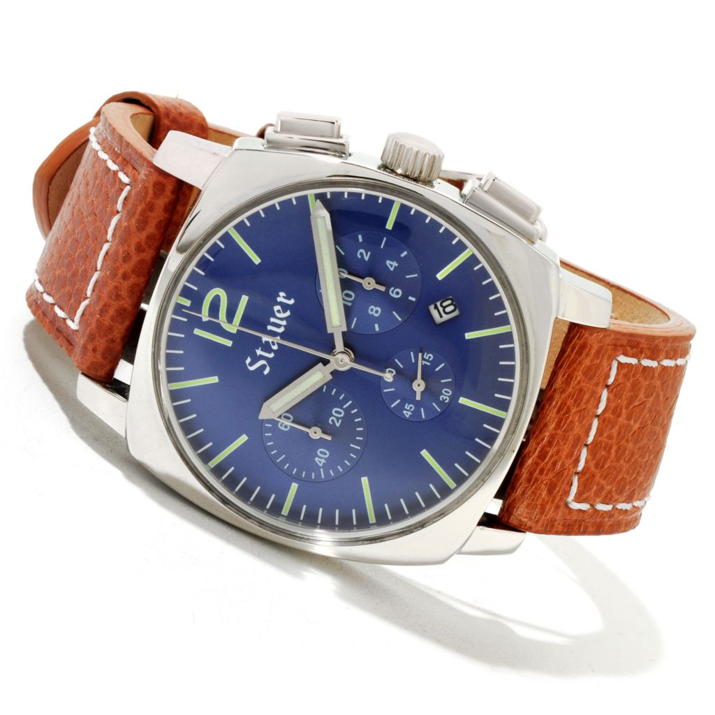 624-383 - Stauer 42mm Exemplar Quartz Chronograph Blue Dial Brown Leather Strap Watch