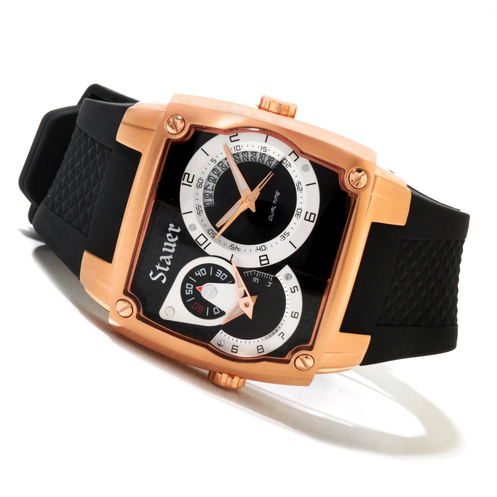 624-386 - Stauer Rectangular Volante Dual Time Quartz Stainless Steel Silicone Strap Watch