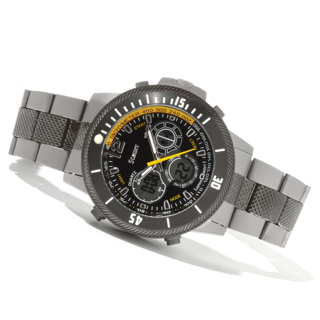 624-390 - Stauer 44mm Titanium Colossus Quartz Chronograph Digital/Analog Titanium Bracelet Watch
