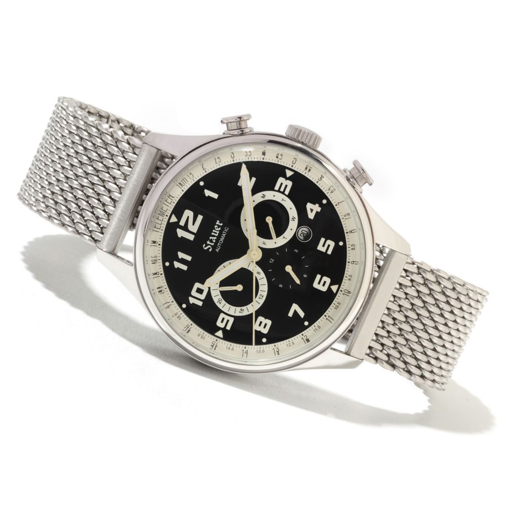 624-396 - Stauer Men's Sigma Automatic Telemeter Chronograph Stainless Steel Mesh Bracelet Watch