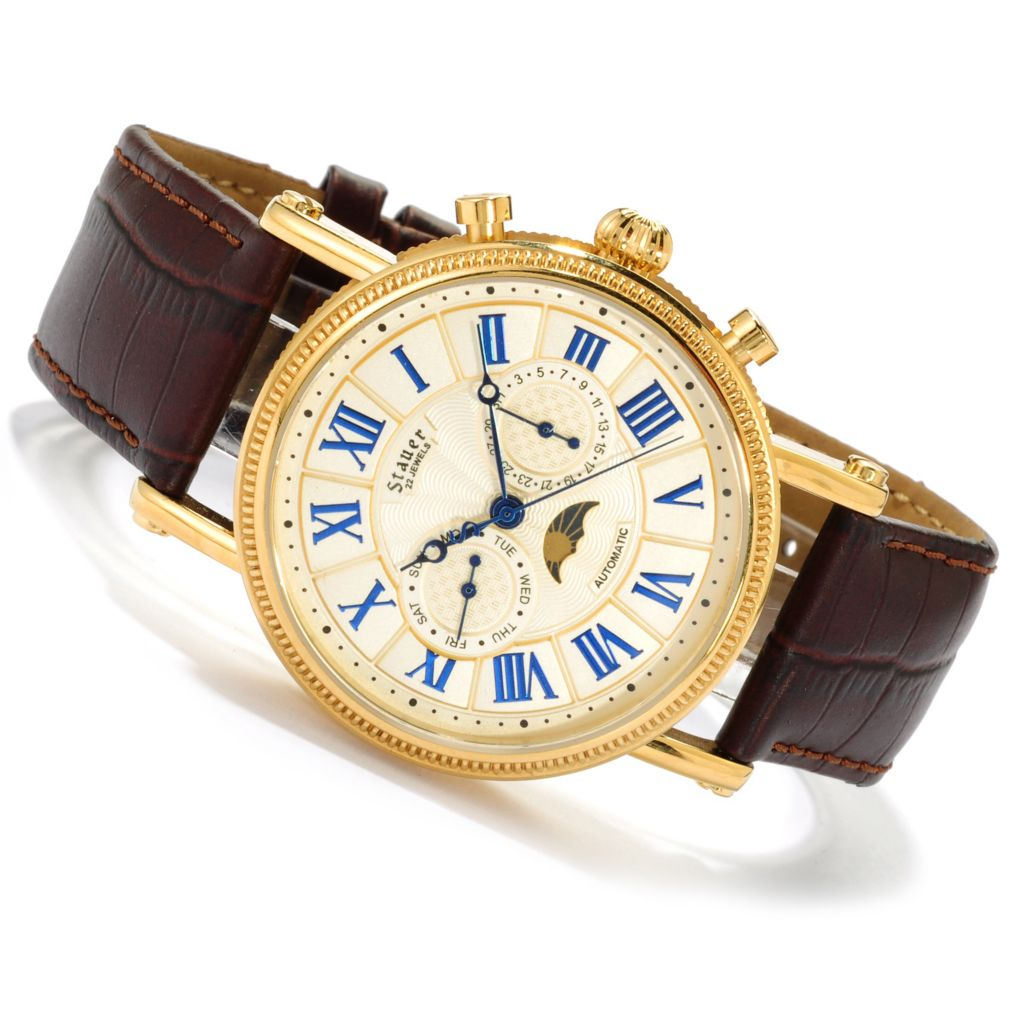 624-400 - Stauer Men's Quanta Automatic Stainless Steel Leather Strap Watch