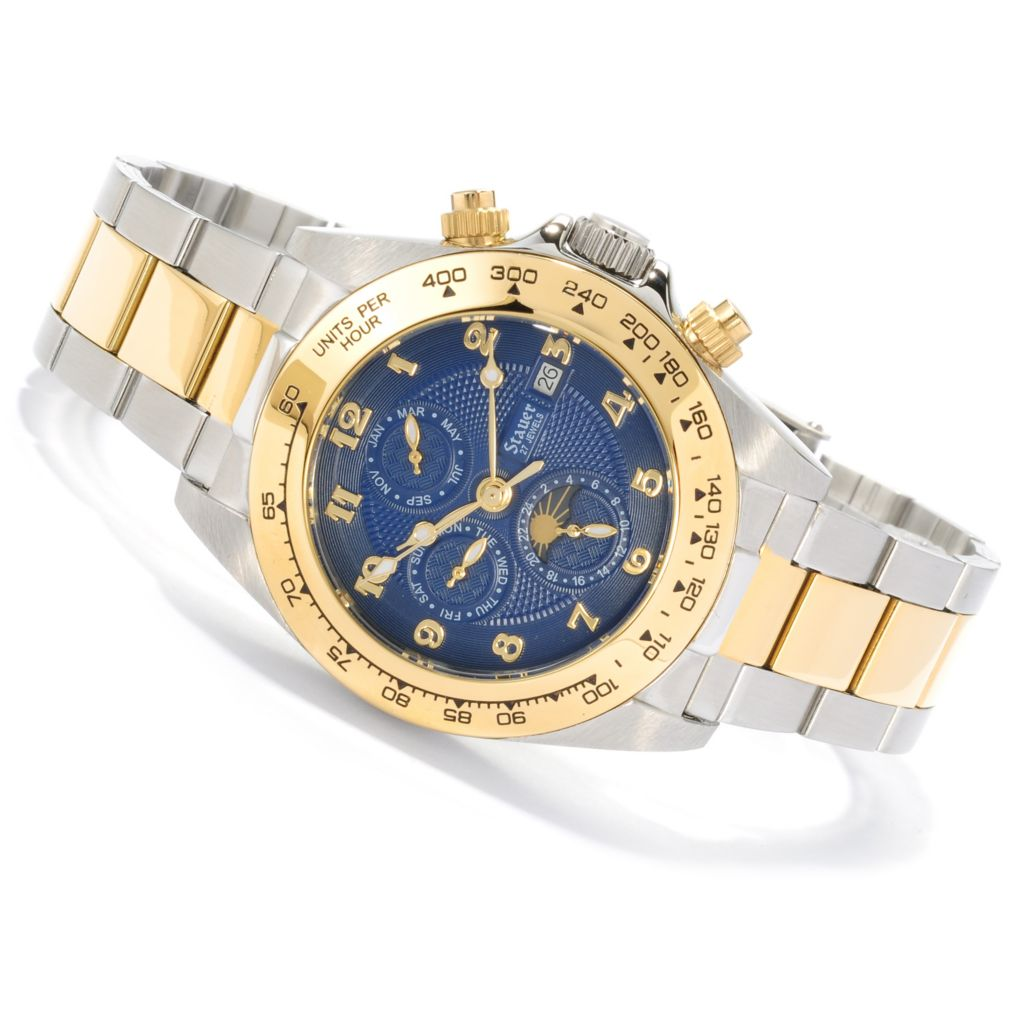 624-401 - Stauer 39mm Blue Corso Automatic Stainless Steel Bracelet Watch