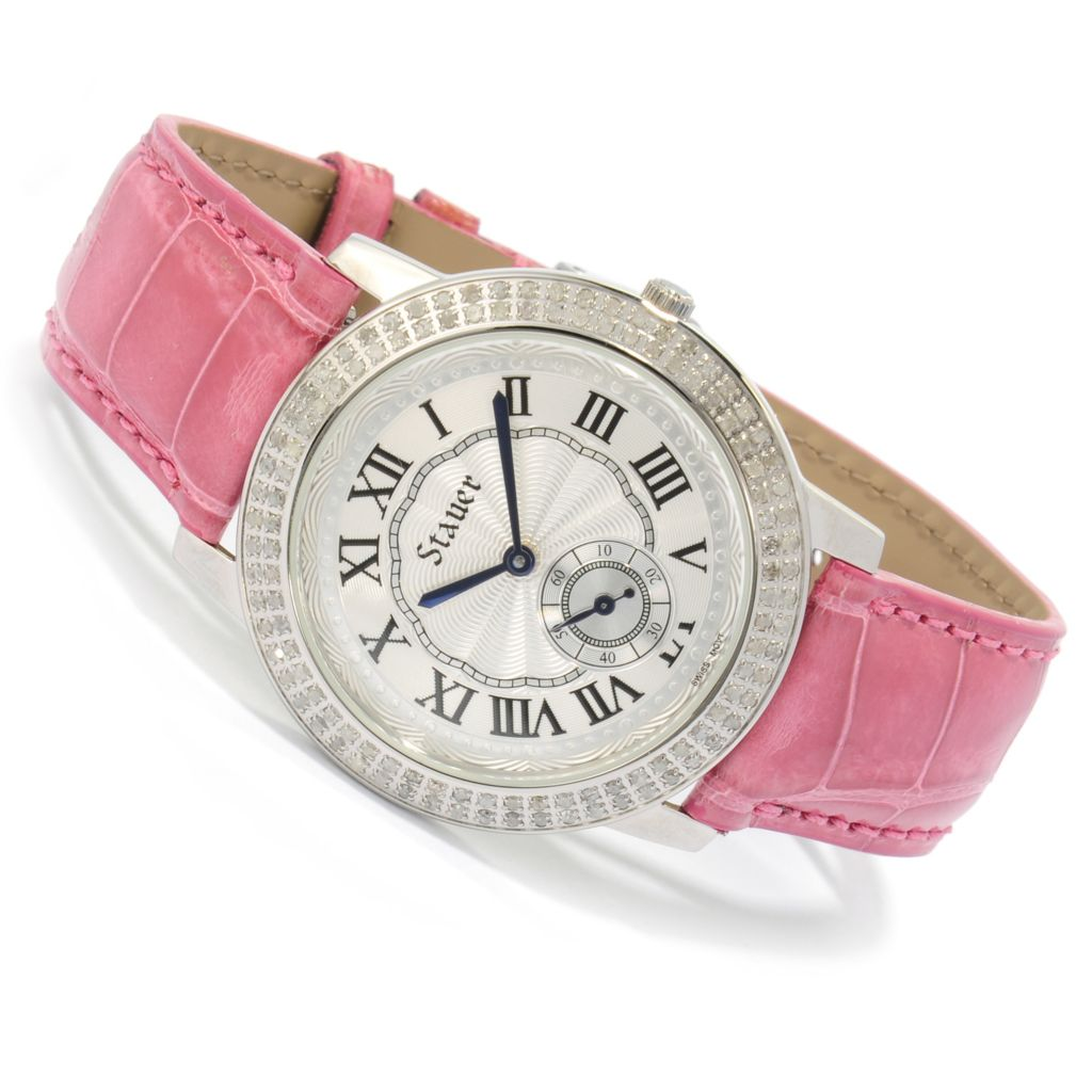 624-404 - Stauer Women's Chantal Quartz Diamond Accented Alligator Strap Watch