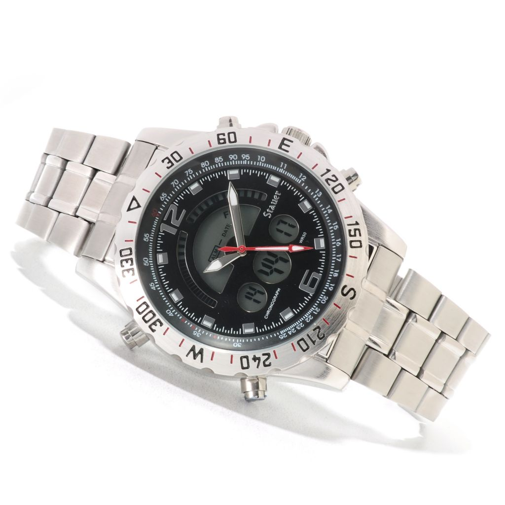 624-406 - Stauer 47mm Compendium Hybrid Digital & Analog Stainless Steel Bracelet Watch