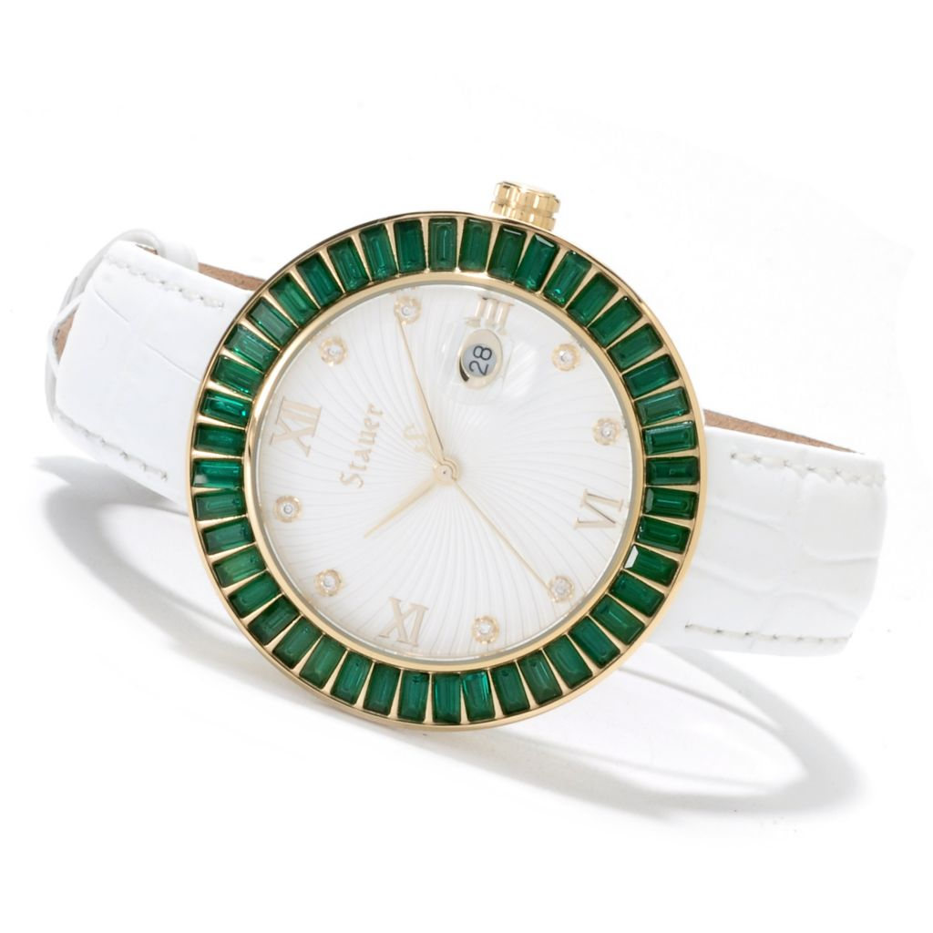 624-408 - Stauer Women's Scienza Emerald Quartz Stainless Steel Leather Strap Watch