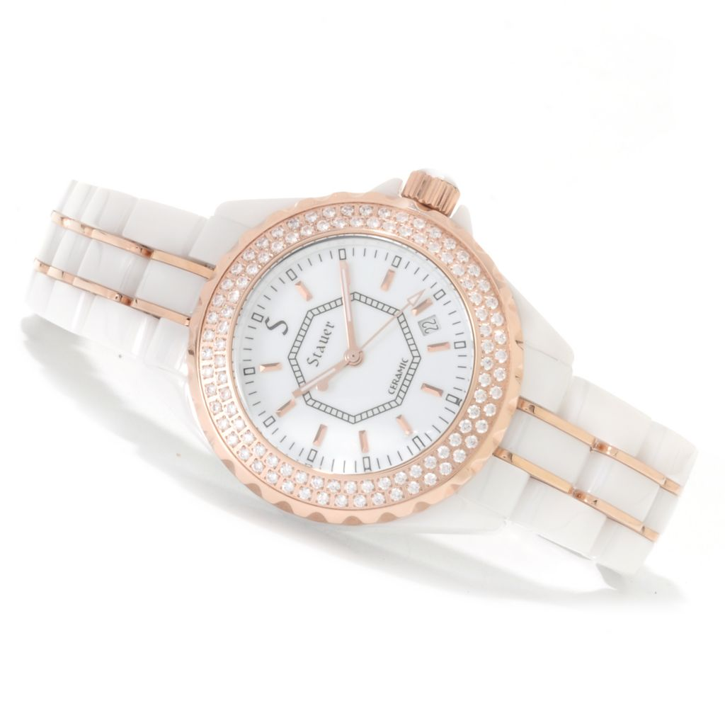 624-410 - Stauer Women's Simulated Diamond Quartz Ceramic Bracelet Watch