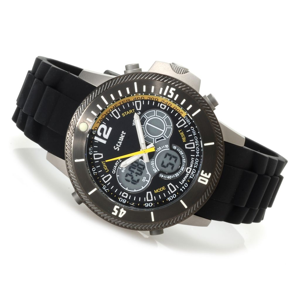 624-412 - Stauer 44mm Colossus Digital Quartz Chronograph Titanium Strap Watch