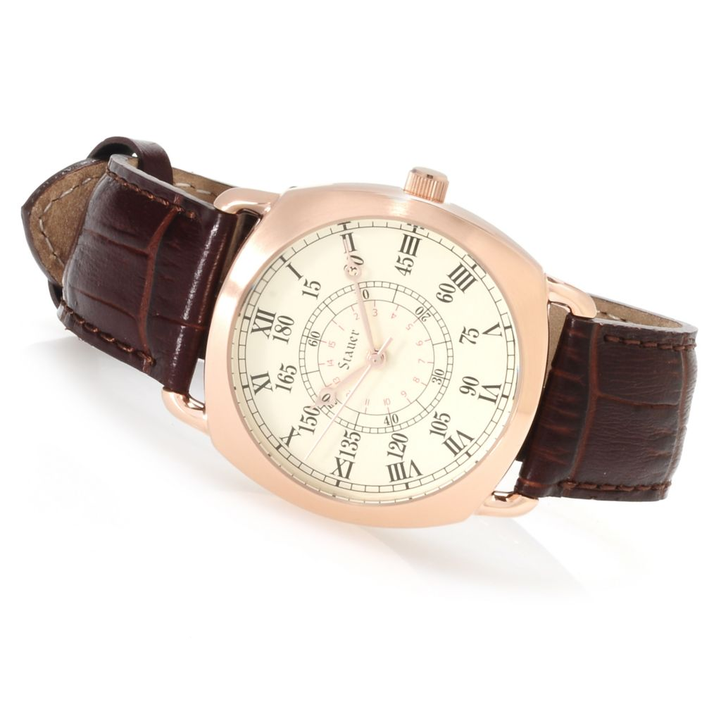 624-414 - Stauer Men's Quartermain Quartz Leather Strap Watch