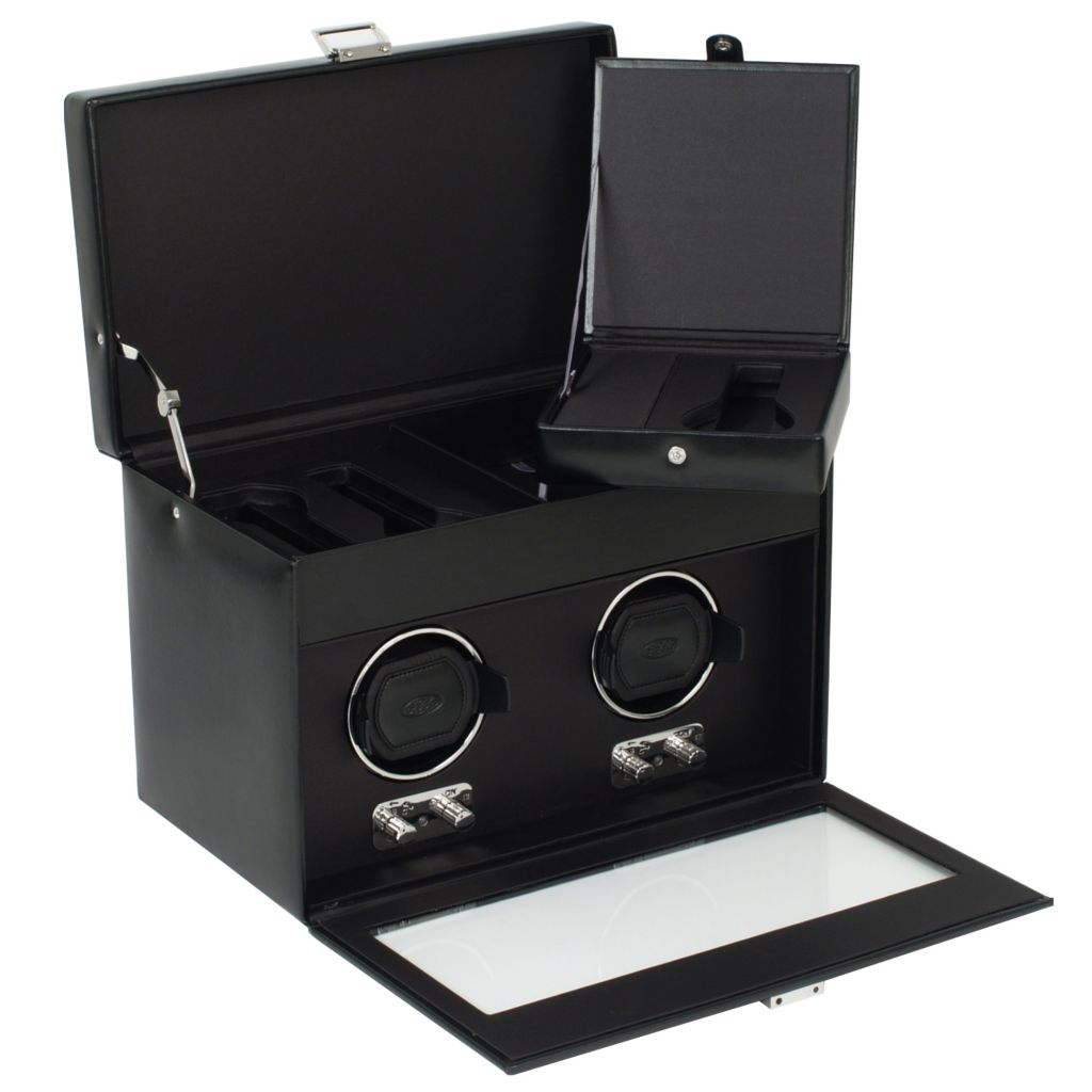 624-448 - Heritage by WOLF Double Watch Winder w/ Cover, Storage & Travel Case