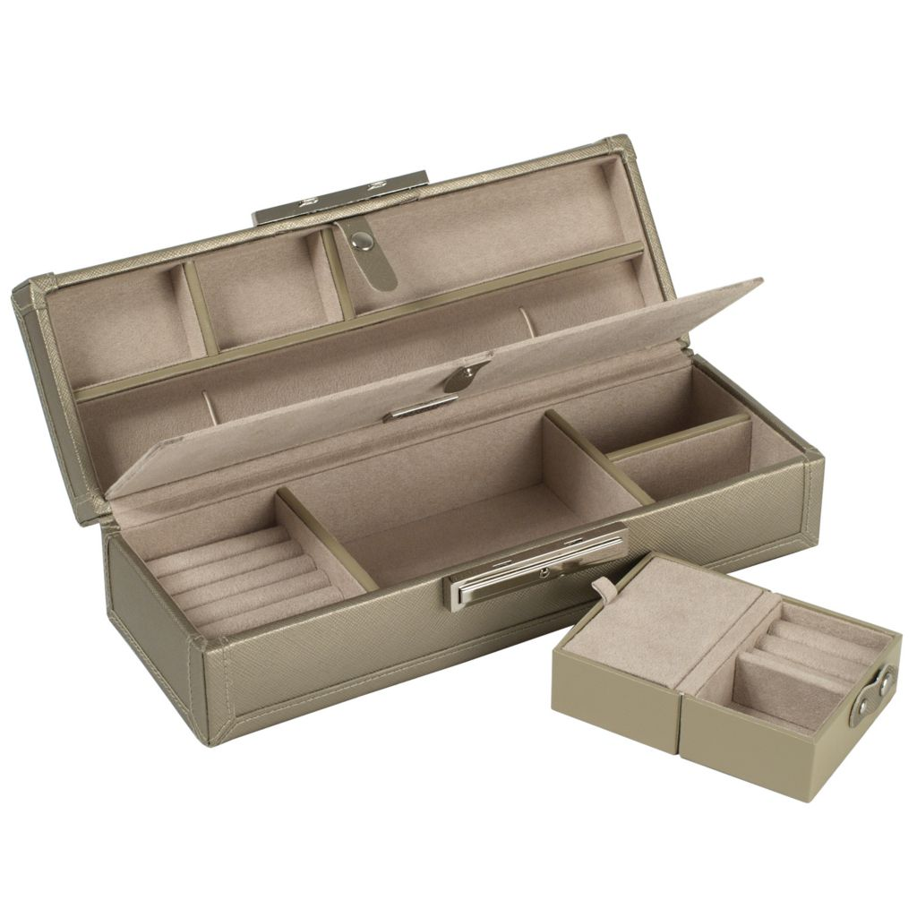 "624-475 - WOLF Queen's Court 10 Compartments 3.75"" Saffiano Leather Jewelry Case"