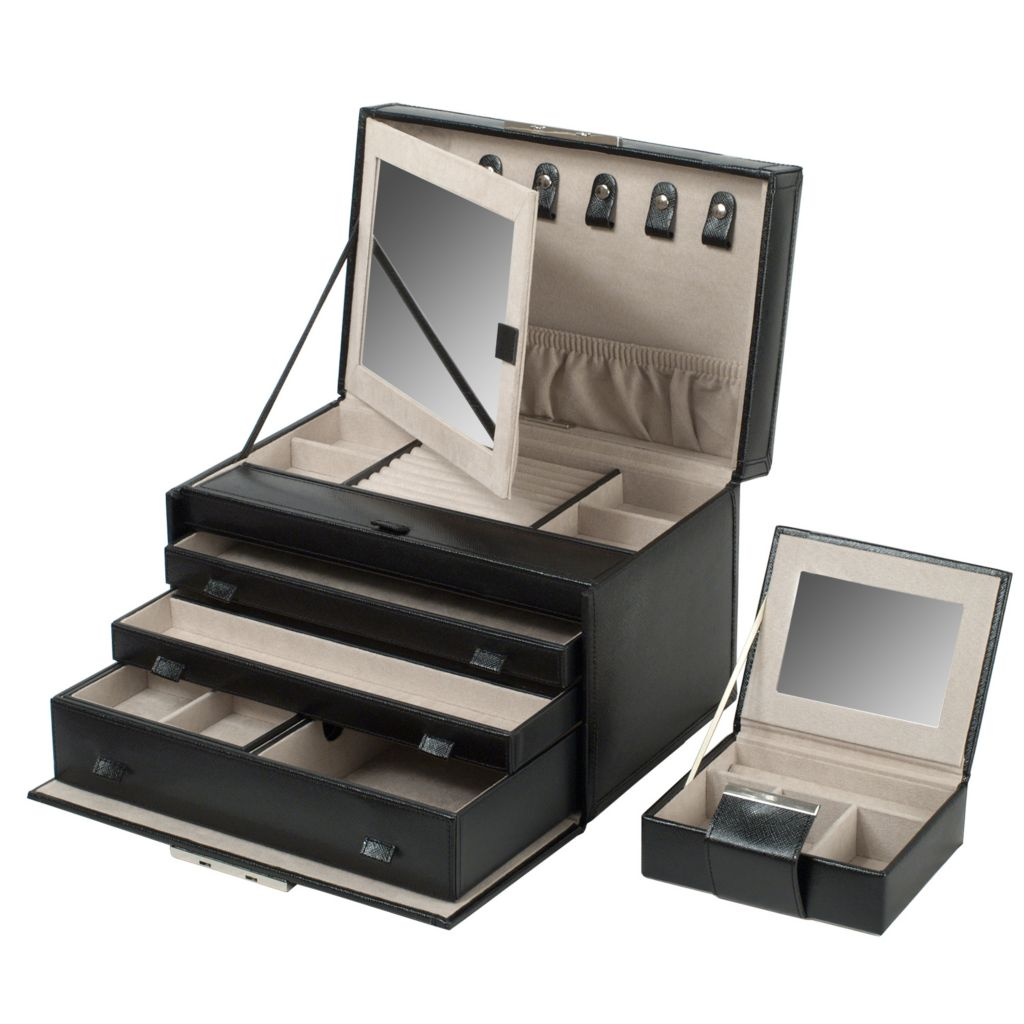 "624-481 - WOLF Queen's Court 21 Compartments 10.50"" Saffiano Leather Jewelry Case"