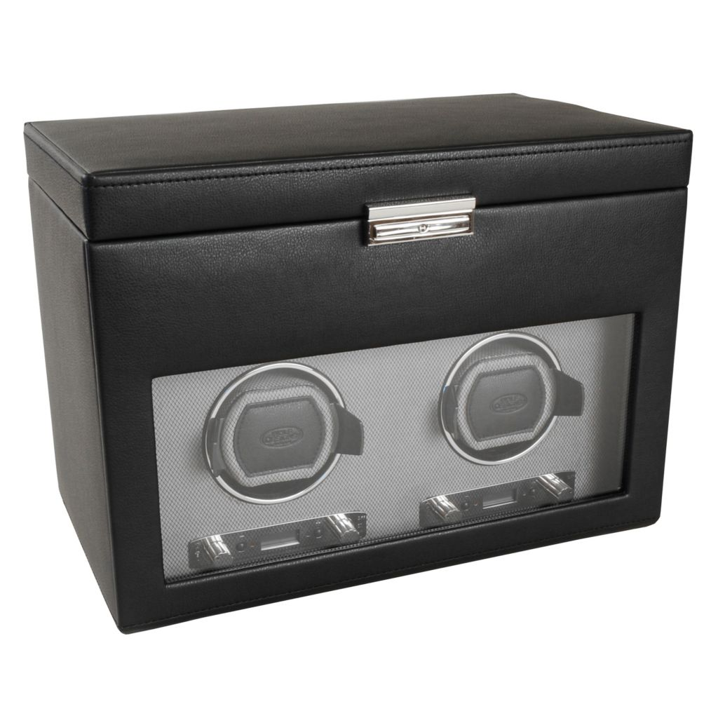 624-503 - WOLF Viceroy Module 2.7 Covered Programmable Two Slot Watch Winder w/ Storage