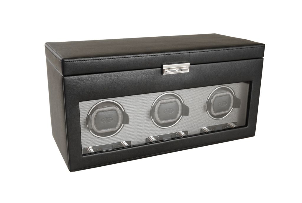 624-504 - WOLF Viceroy Module 2.7 Covered Programmable Three Slot Watch Winder w/ Storage