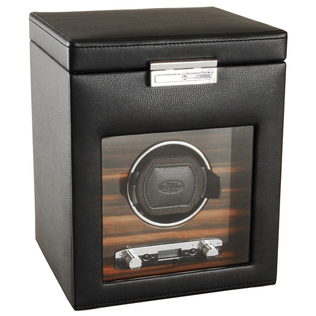 "624-509 - WOLF ""Roadster"" Covered Lockable Programmable Module 2.7 Single Watch Winder & Storage"