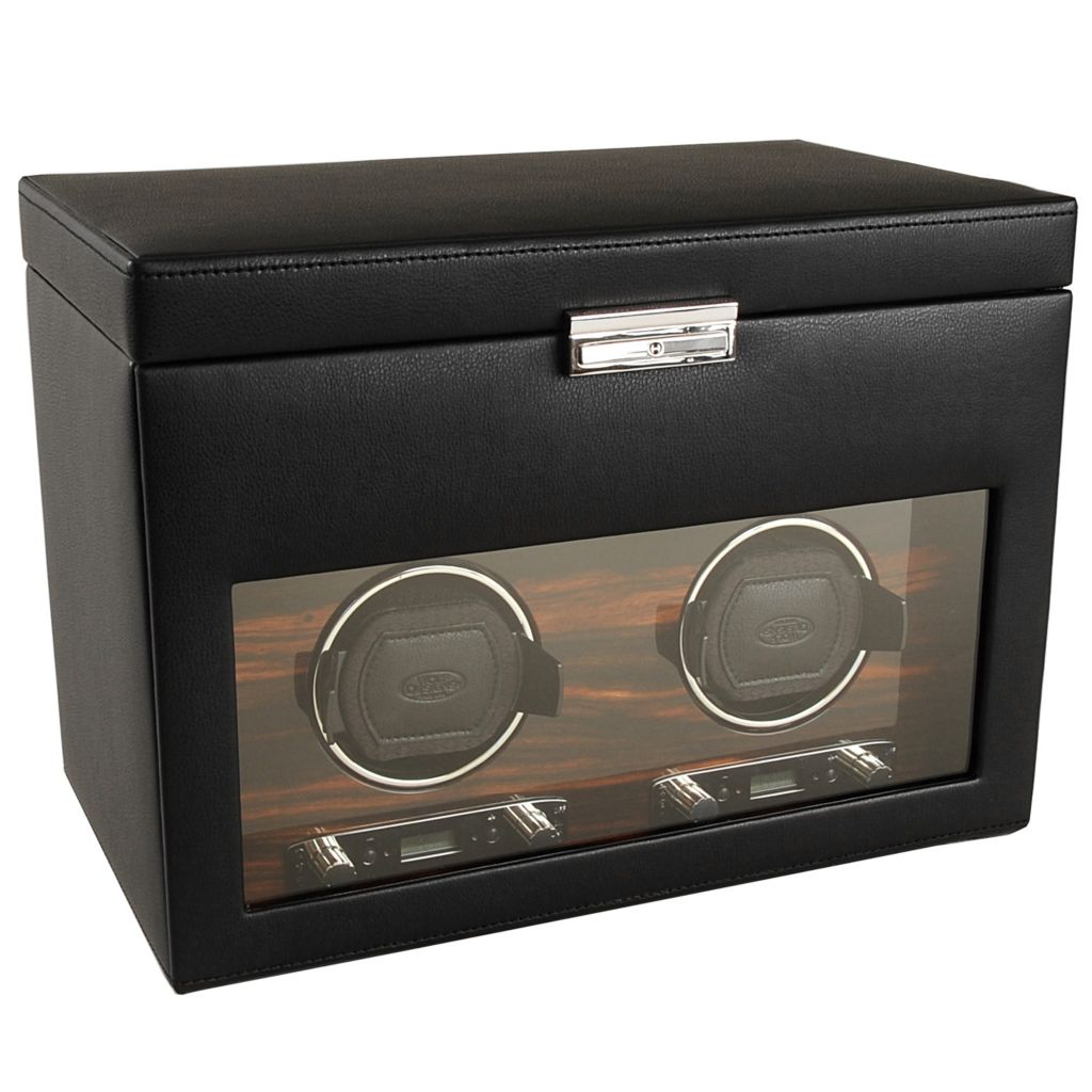 "624-510 - WOLF ""Roadster"" Covered Lockable Programmable Module 2.7 Double Watch Winder & Storage"