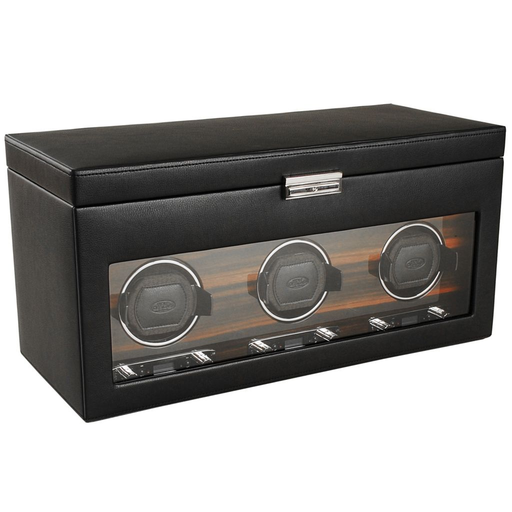 "624-511 - WOLF ""Roadster"" Covered Lockable Programmable Module 2.7 Triple Watch Winder & Storage"