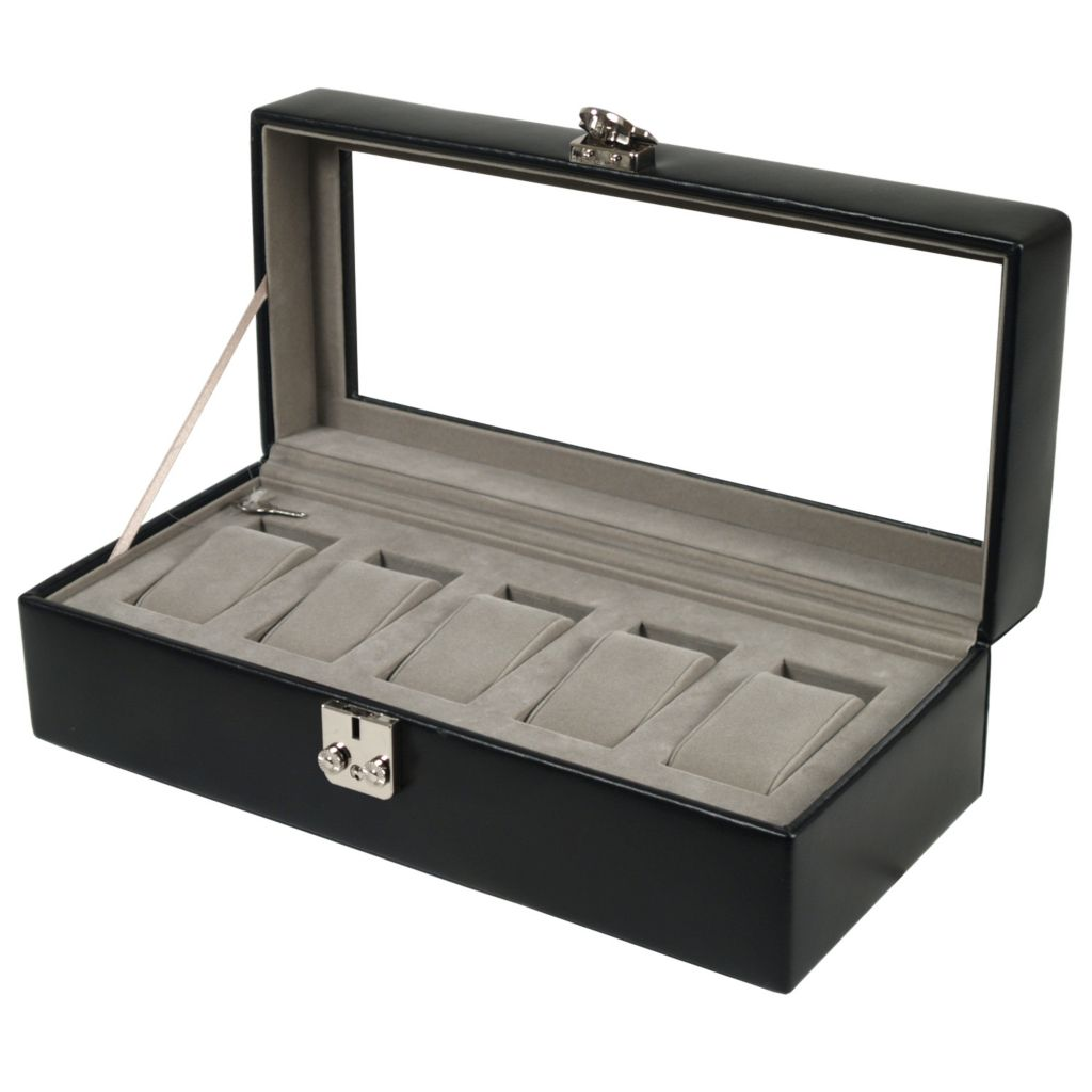 624-525 - Heritage by WOLF Five-Piece Watch Storage Box w/ Cover
