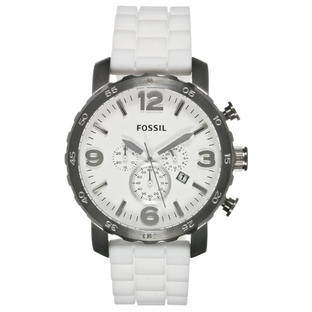 624-528 - Fossil Men's Nate Quartz Chronograph Silicone Strap Watch