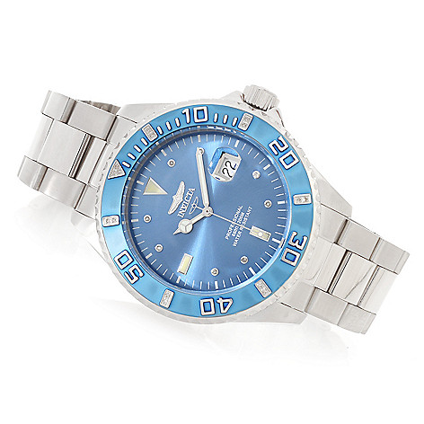 624-596 - Invicta 47mm Pro Diver Quartz Diamond Accented Stainless Steel Bracelet Watch