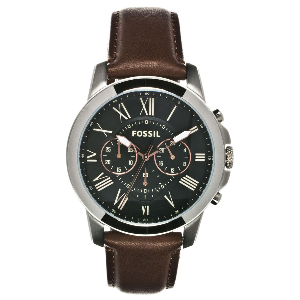624-614 - Fossil 44mm Grant Quartz Chronograph Leather Strap Watch