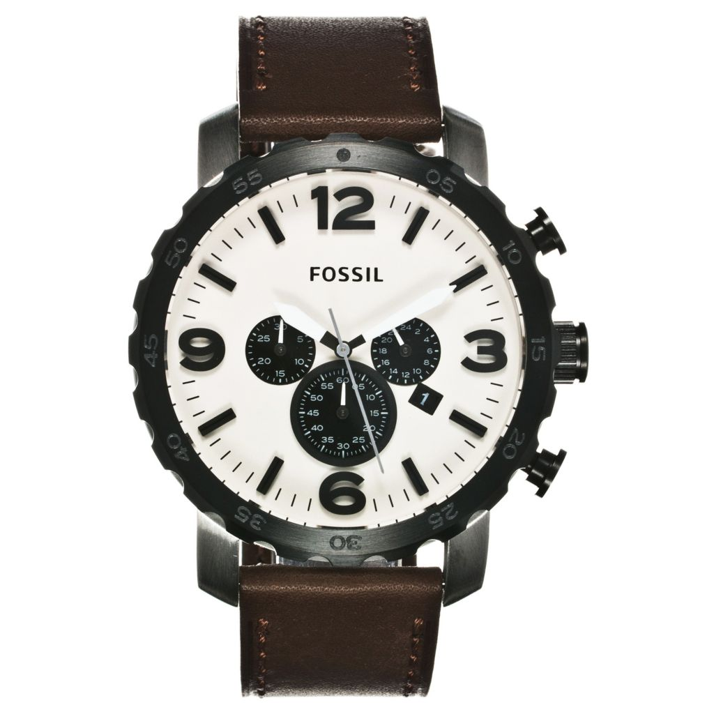624-620 - Fossil Men's Nate Quartz Chronograph Leather Strap Watch