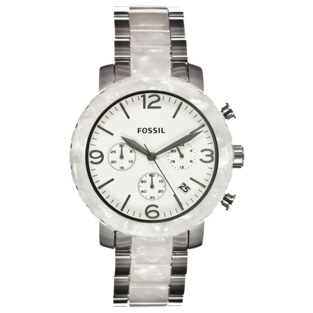 624-621 - Fossil Women's Natalie Quartz Chronograph Stainless Steel & Plastic Bracelet Watch