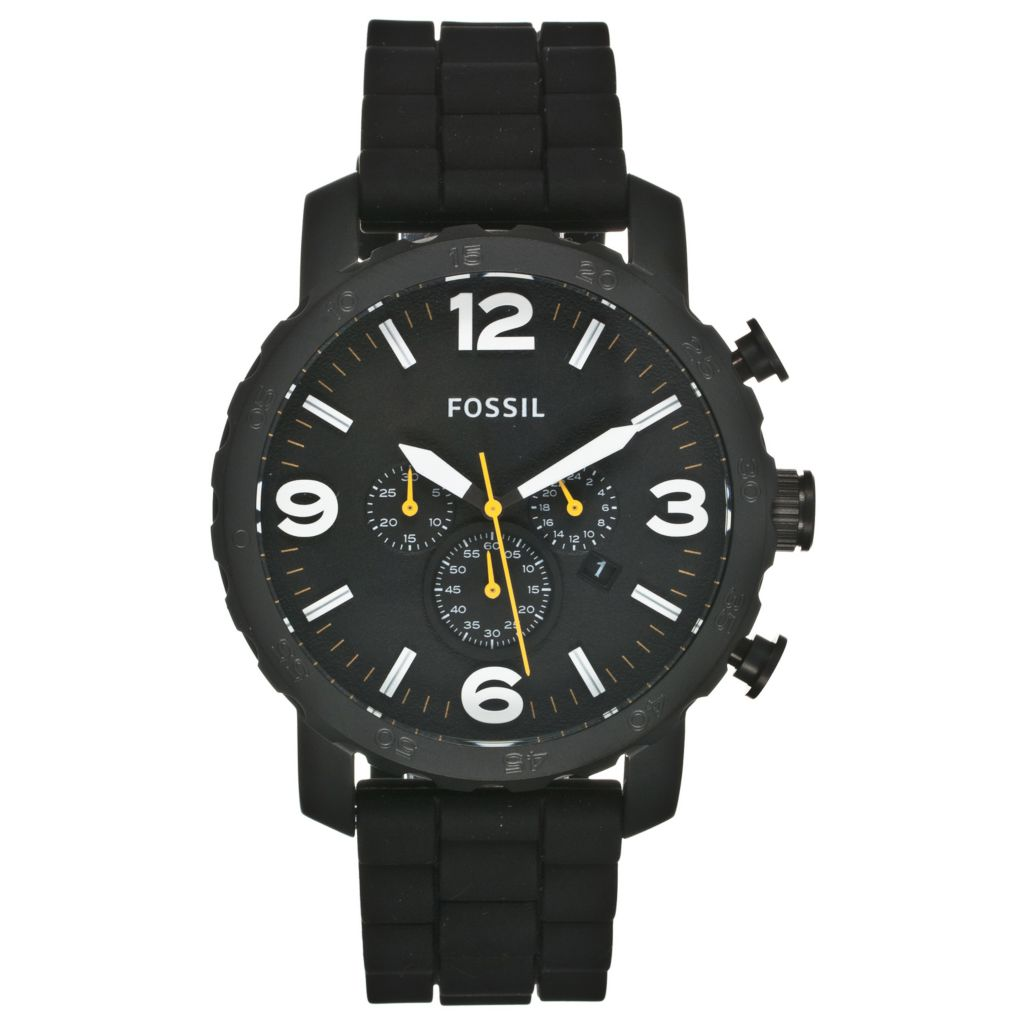 624-622 - Fossil Men's Nate Quartz Chronograph Silicone Strap Watch