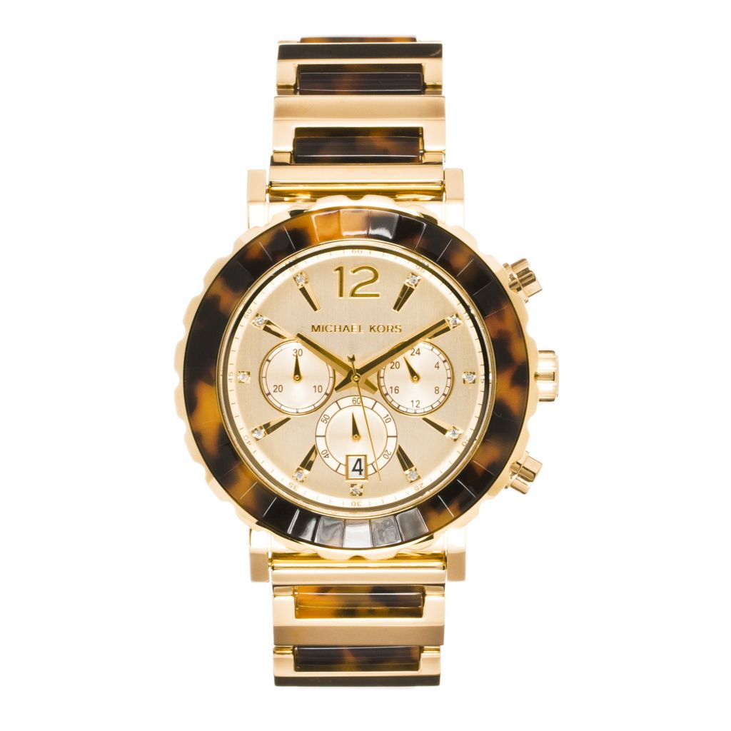 624-627 - Michael Kors Women's Lillie Quartz Chronograph Stainless Steel & Plastic Bracelet Watch