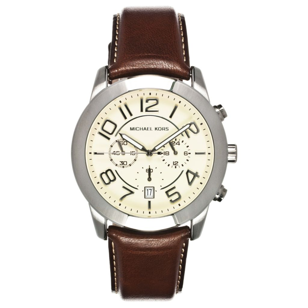 624-644 - Michael Kors Men's Mercer Quartz Chronograph Leather Strap Watch