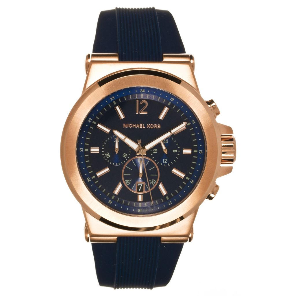 624-645 - Michael Kors Men's Dylan Quartz Chronograph Blue Silicone Rubber Strap Watch