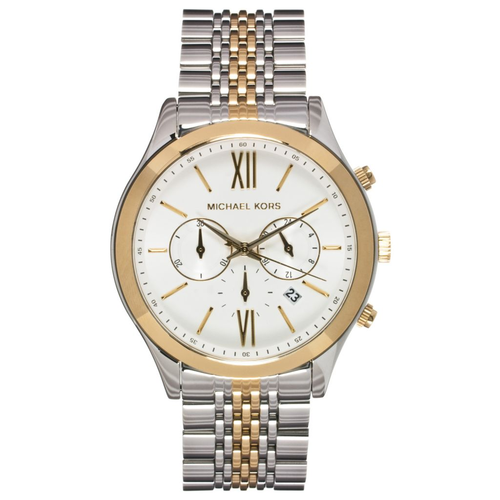 624-647 - Michael Kors Men's Brookton Quartz Chronograph Two-Tone Stainless Steel Bracelet Watch