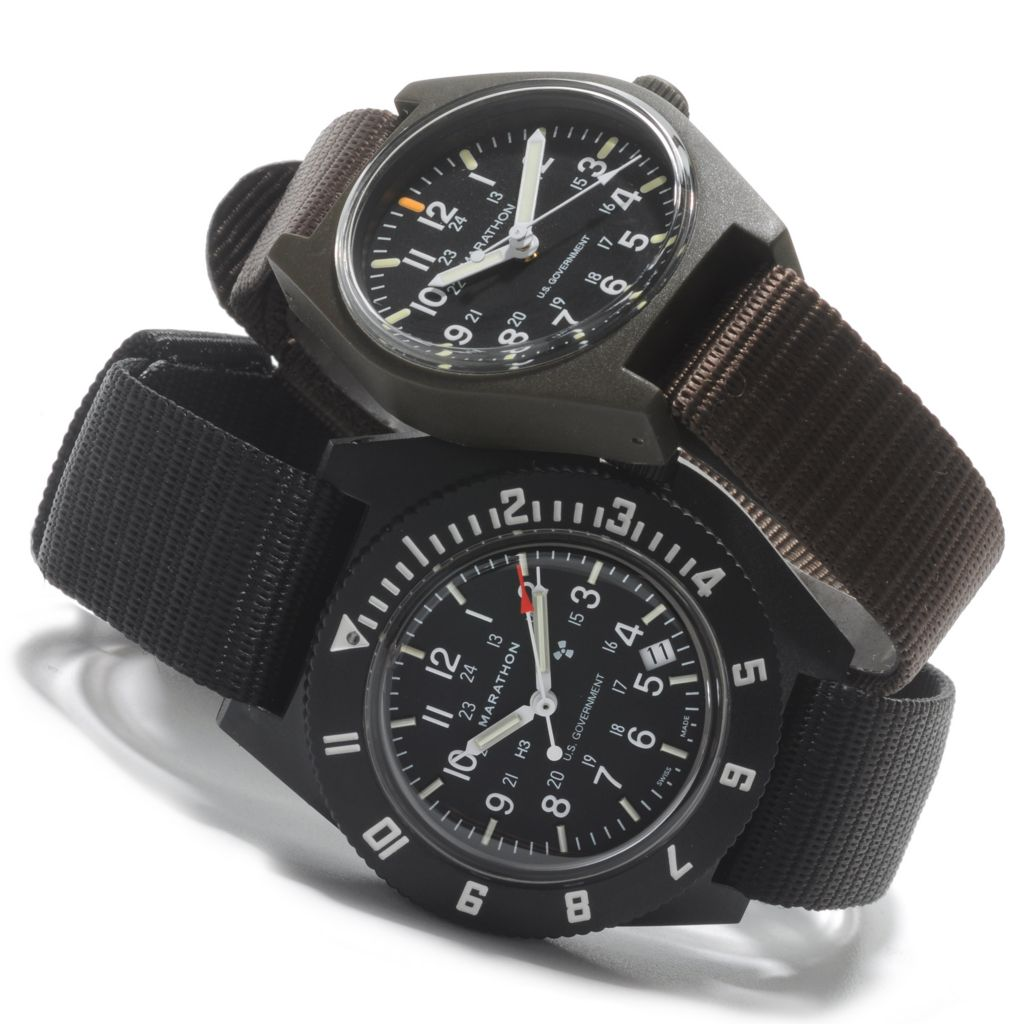 624-709 - Marathon Men's Set of Two Military Navigator & Field Swiss Made Nylon Strap Watches