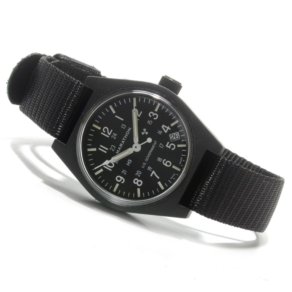624-710 - Marathon Men's Military Field Swiss Made Quartz Nylon Strap Watch