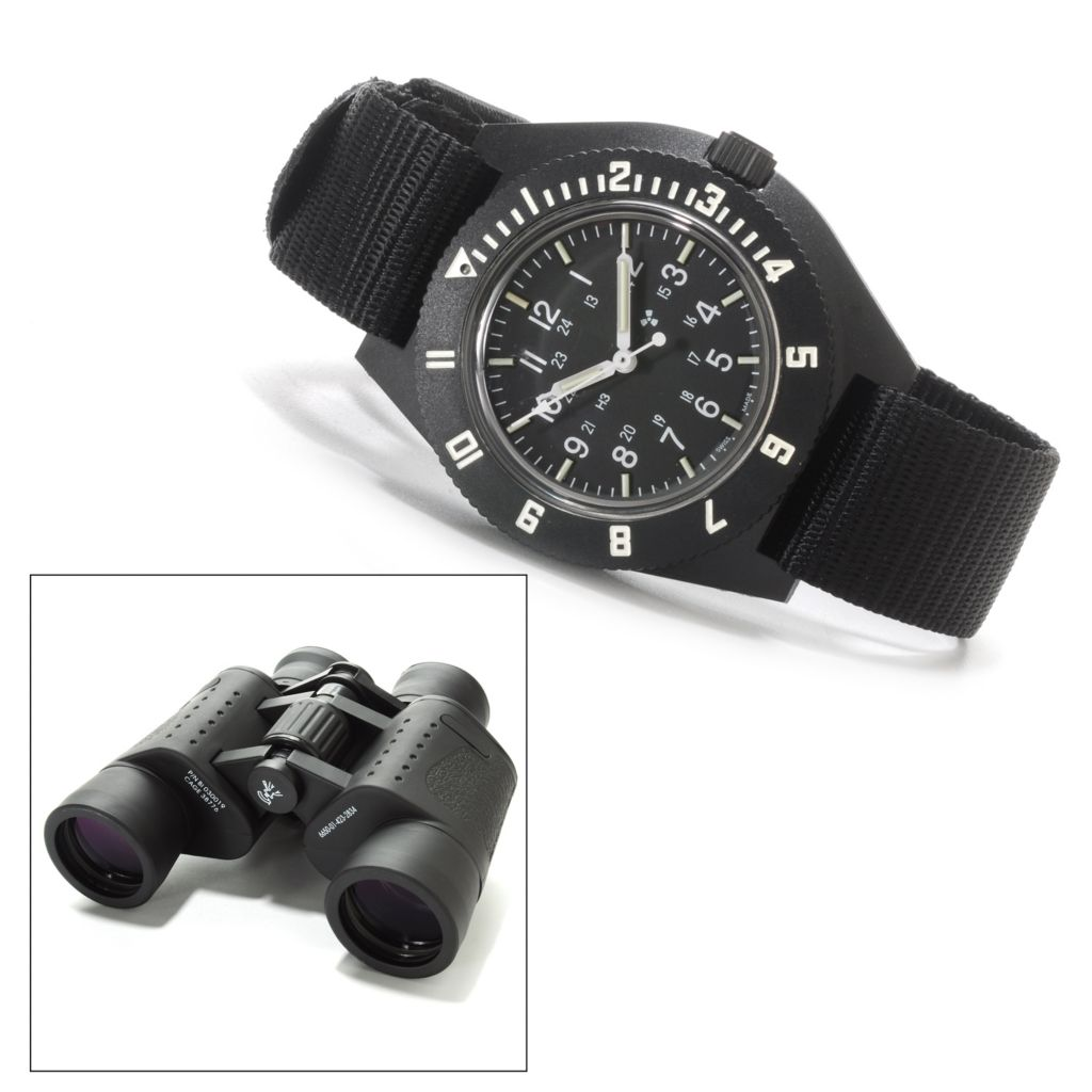 624-713 - Marathon Men's Military Navigator Swiss Made Quartz Nylon Strap Watch w/ Binoculars