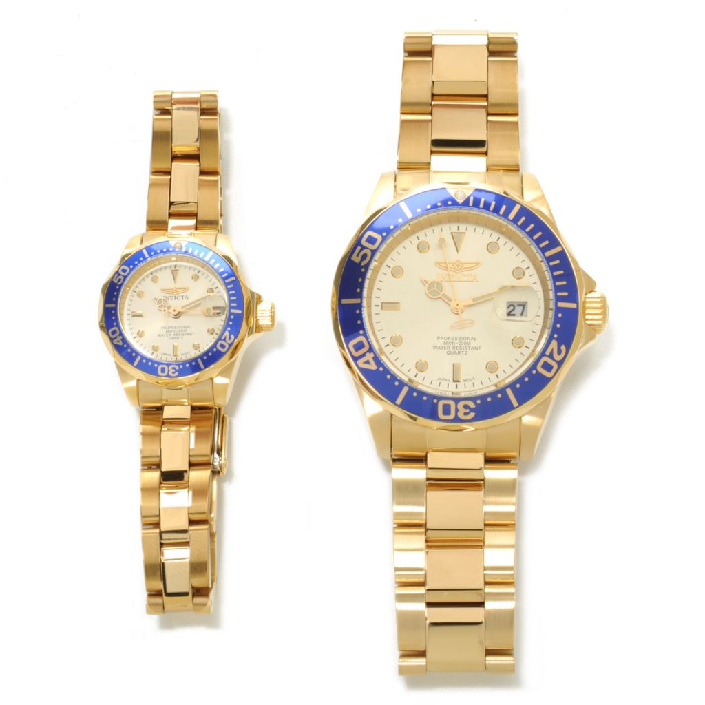 624-721 - Invicta Men's & Women's Pro Diver Quartz Bracelet Watch Set w/ Three-Slot Dive Case