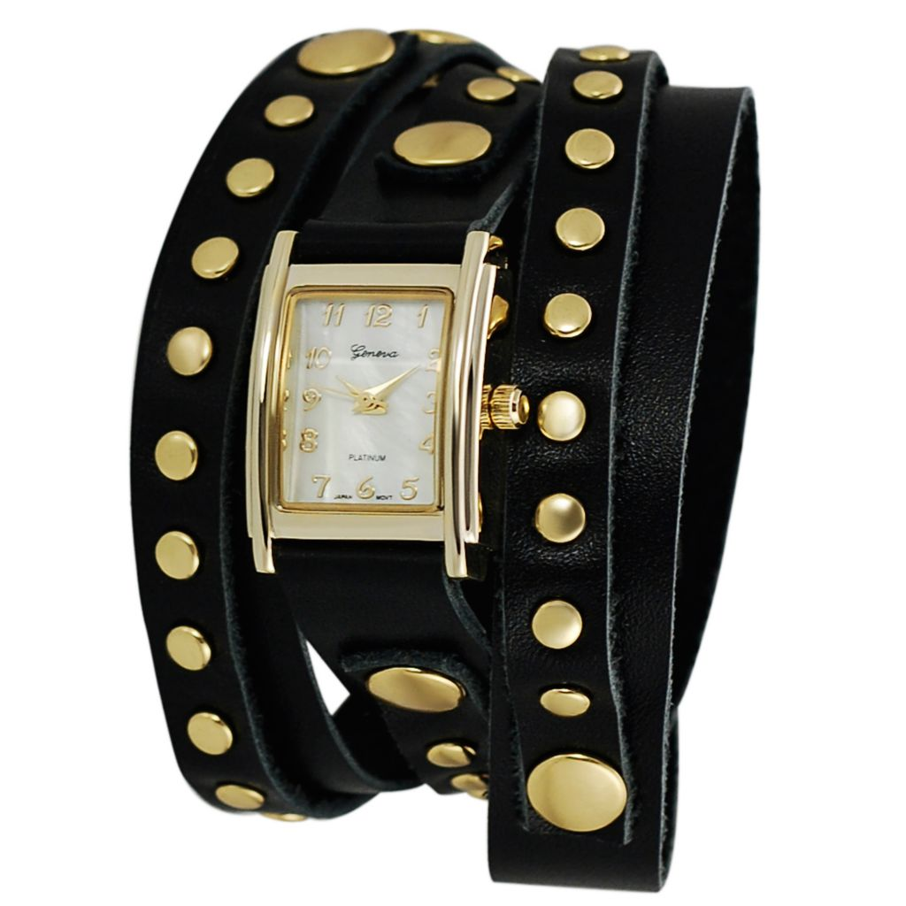 624-733 - Geneva Platinum Women's Quartz Stud Accented Wrap Strap Watch