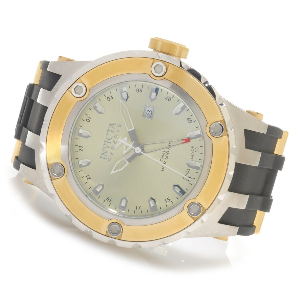 624-789 - Invicta Reserve 52mm Specialty Subaqua Swiss Made Quartz GMT Polyurethane Strap Watch
