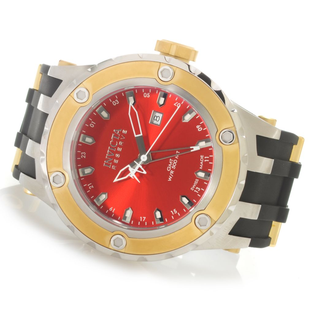 624-790 - Invicta Reserve 52mm Specialty Subaqua Swiss Made Quartz GMT Polyurethane Strap Watch