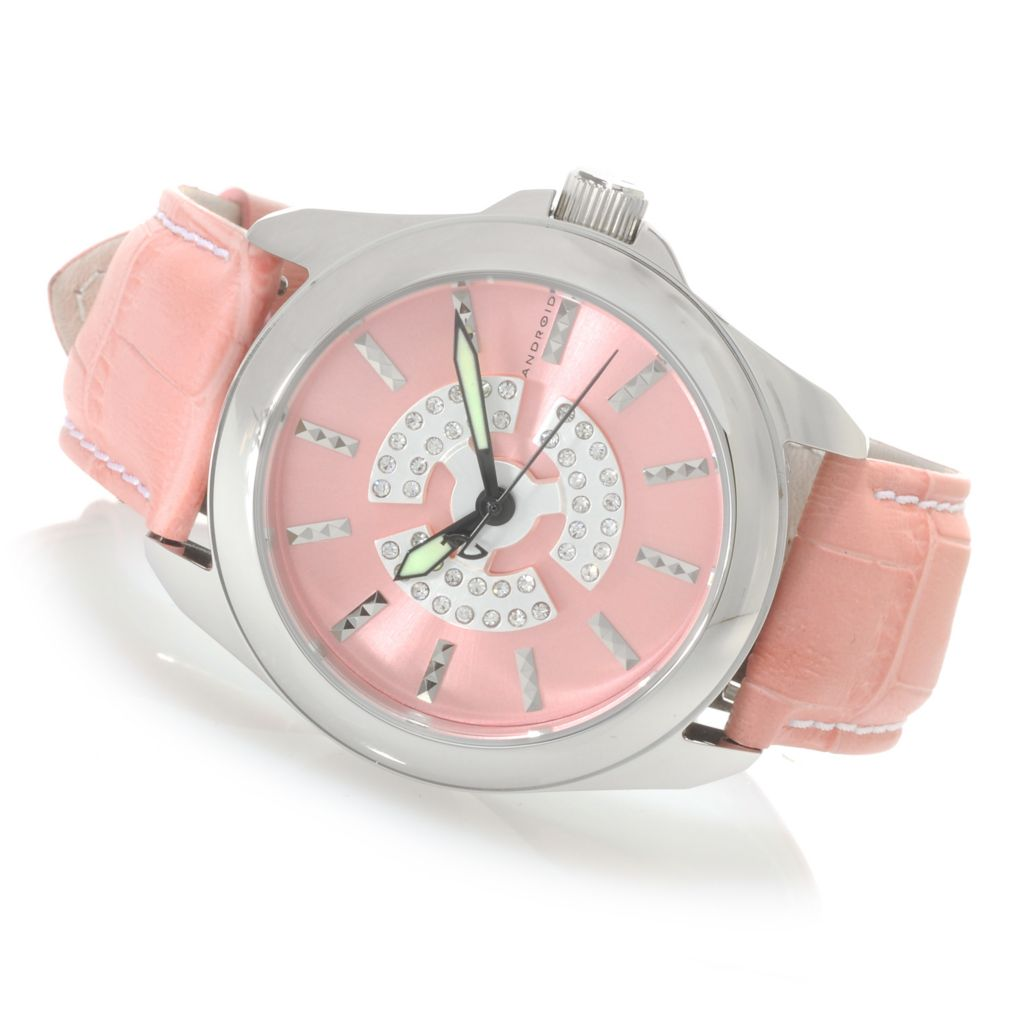624-796 - Android Women's Flower Quartz Leather Strap Watch Made w/ Swarovski® Elements