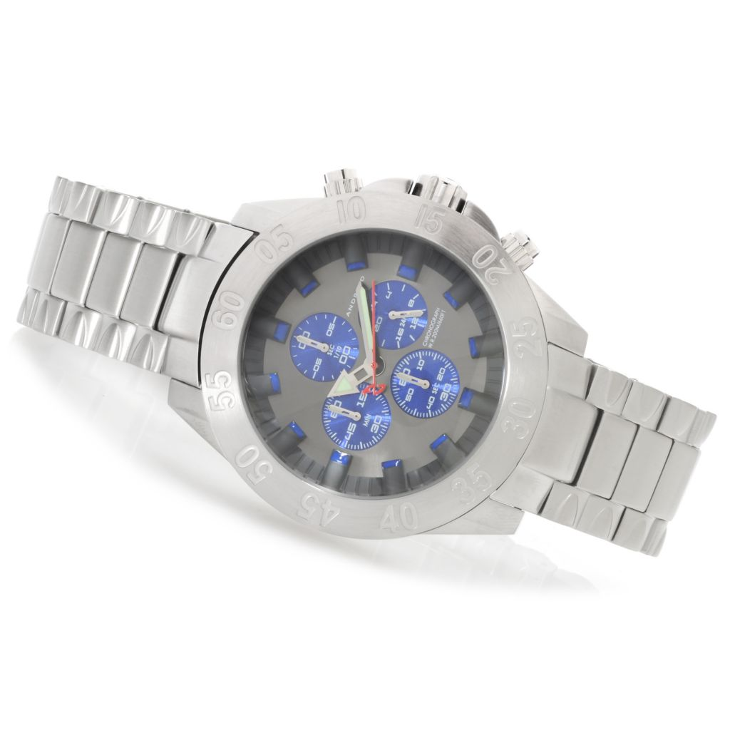 624-797 - Android Men's Tunnelgraph Quartz Chronograph 3-Dimensional Dial Stainless Steel Bracelet Watch